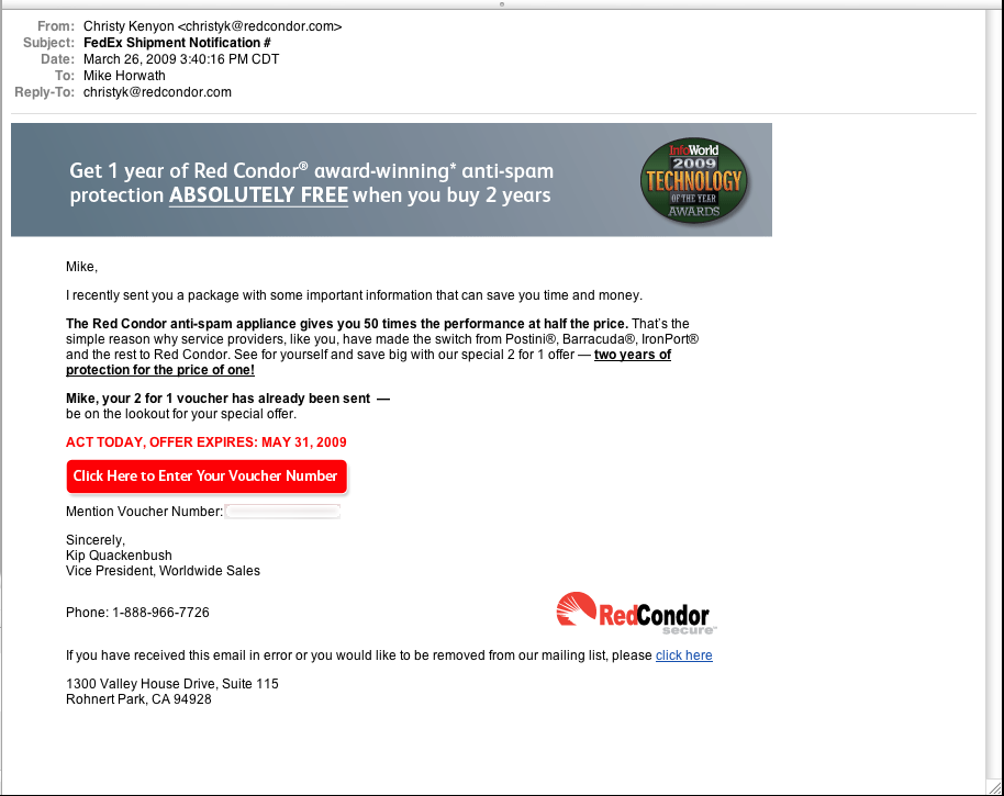 Exact email message sent from Red Condor
